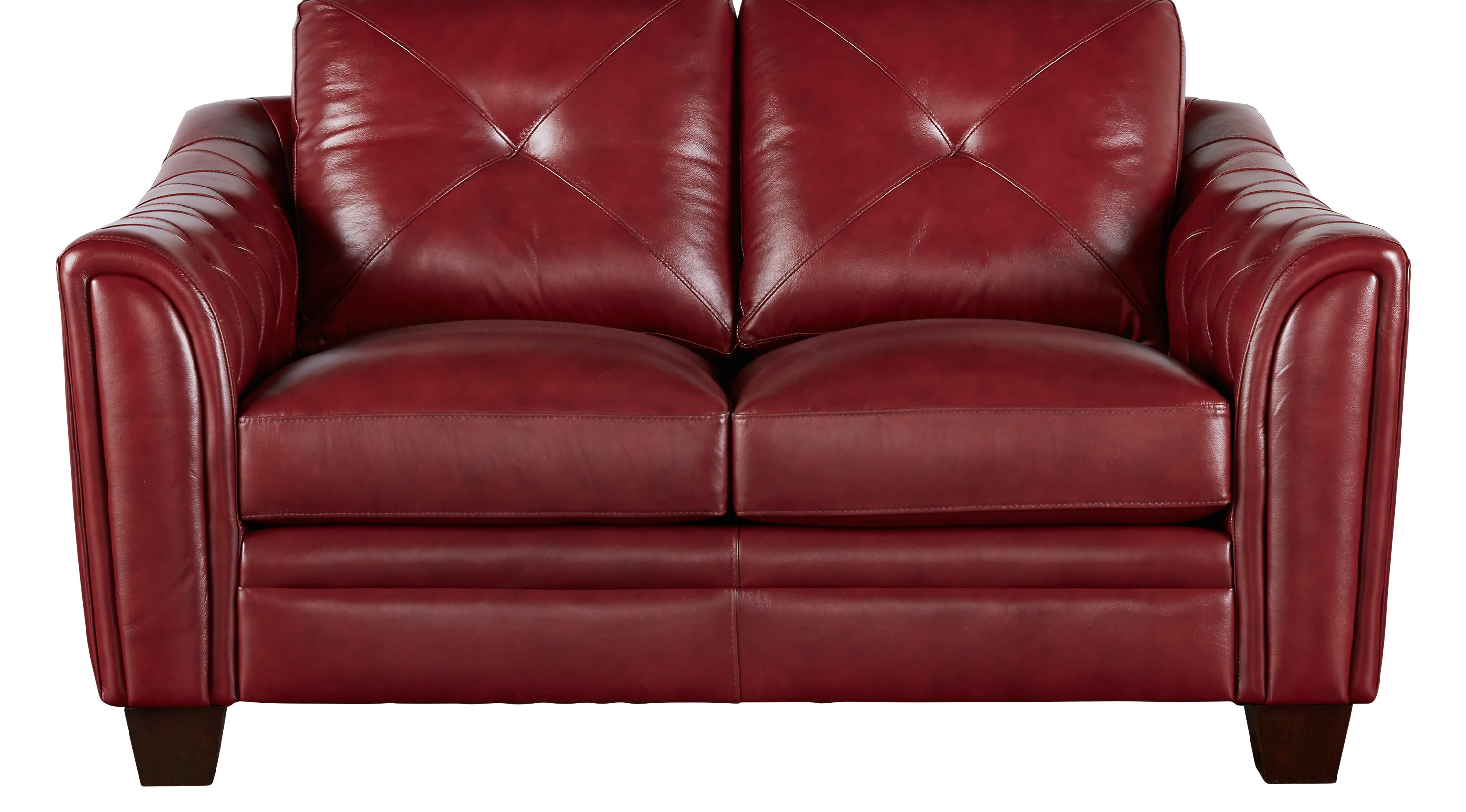 $868.00 - Marcella Red Leather Loveseat - Classic - Contemporary,