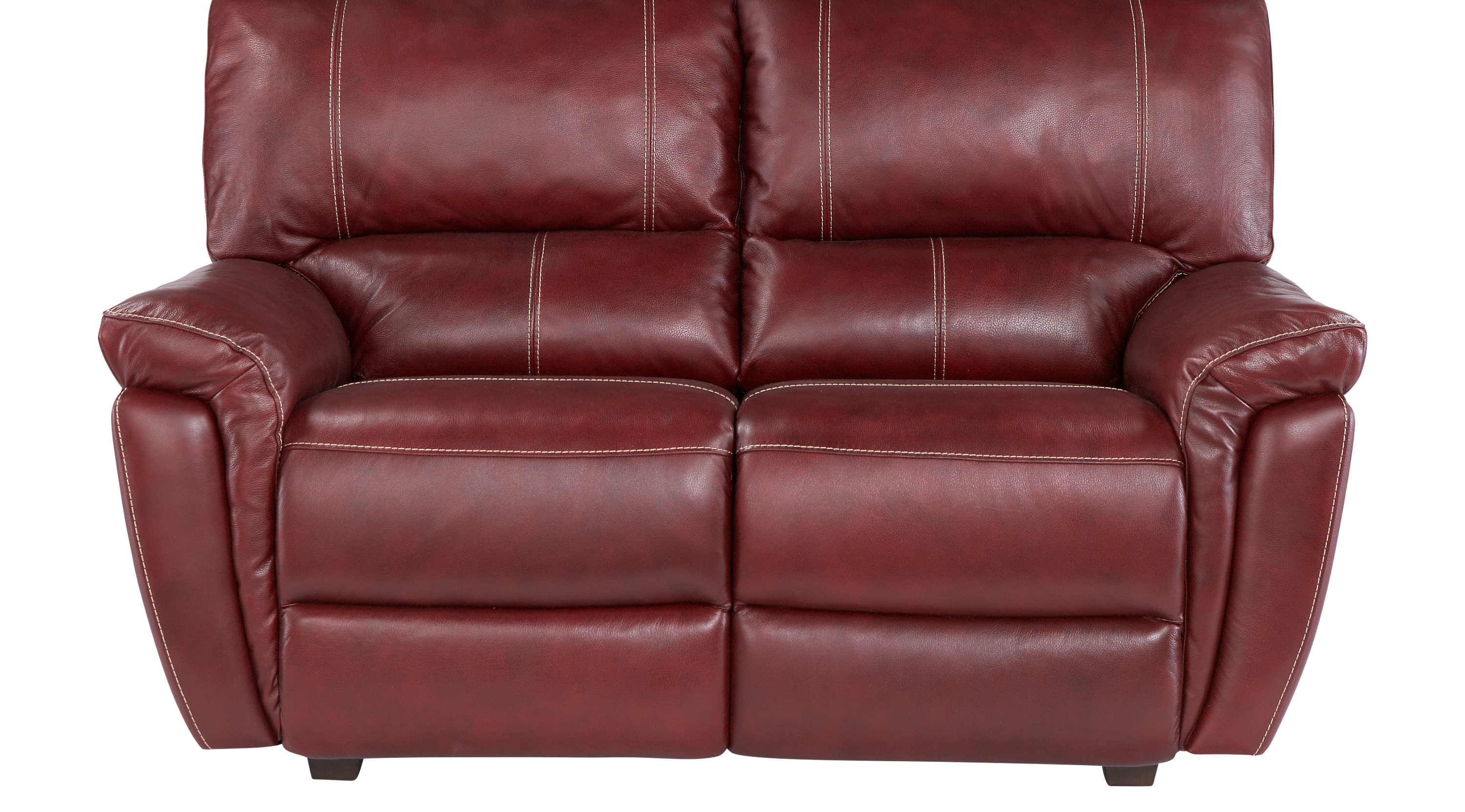 $577.00 - Browning Bluff Red Leather Loveseat - Classic - Contemporary,