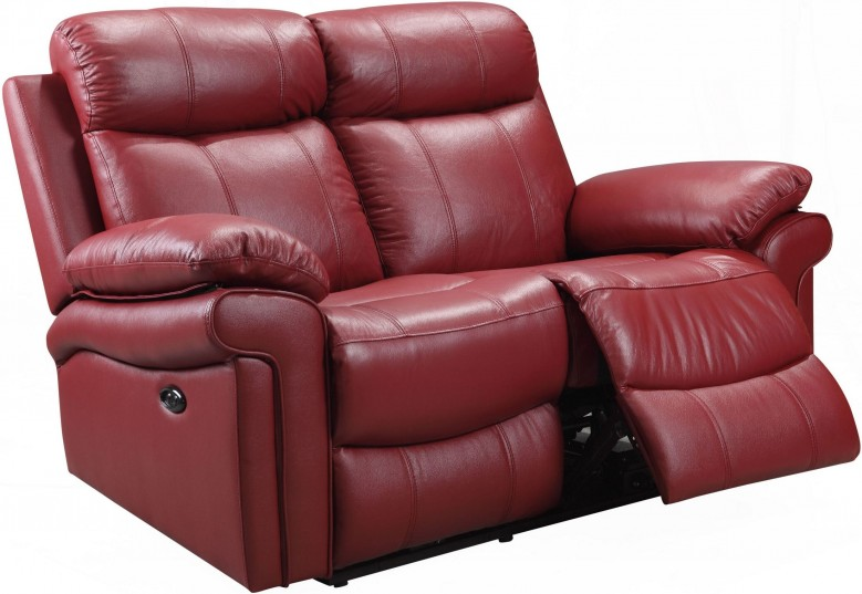 Leather Italia USA Shae Joplin Red Leather Power Reclining Loveseat