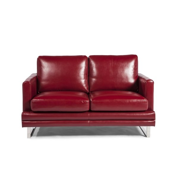 Shop Melbourne Collection Red Leather Loveseat by Lazzaro Leather