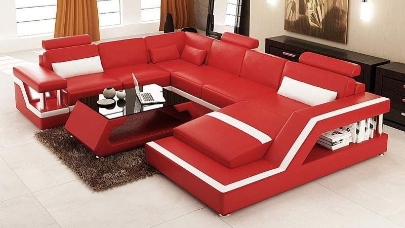 VIG Furniture - Divani Casa 6139 Modern Red and White Bonded Leather