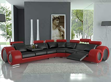 Amazon.com: 4087 Red & Black Bonded Leather Sectional Sofa With