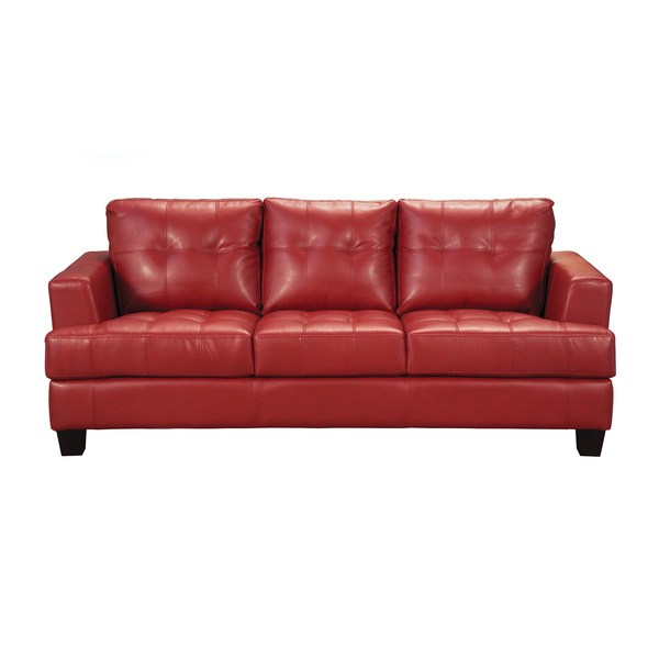 Shop Coaster Company Red Bonded Leather Sofa - Free Shipping Today