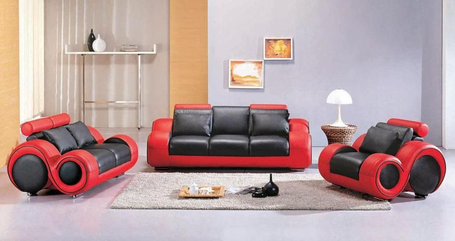 Contemporary Black and Red Leather Sofa Set Atlanta Georgia V-4088