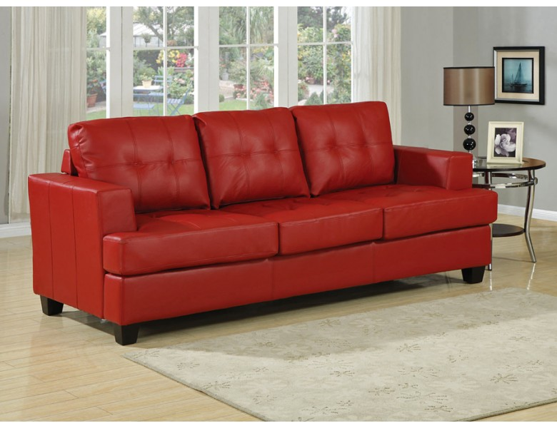 Diamond Red Leather Sofa Bed