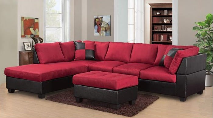 Master Furniture Living Room Two-tone red sectional sofa. 2327 - The