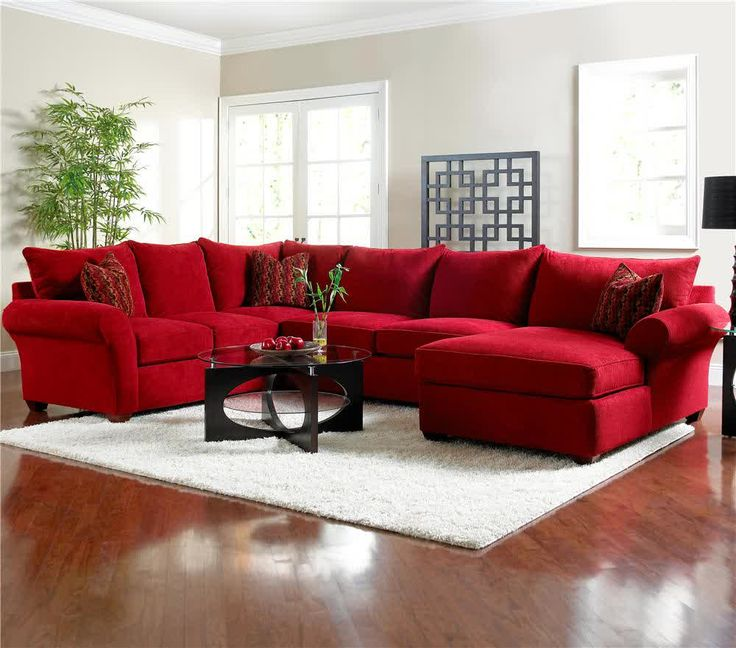 Picture of Red Microfiber Sectionals Highlight Your Living Room