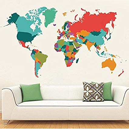 Amazon.com: WeAlake Colourful World Map Wall Decals Peel and Stick