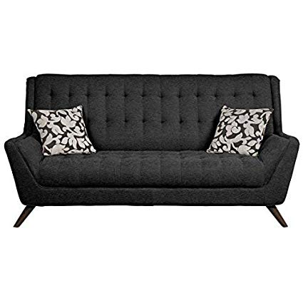 Amazon.com: Natalia Retro Sofa with Flared Arms Black: Kitchen & Dining