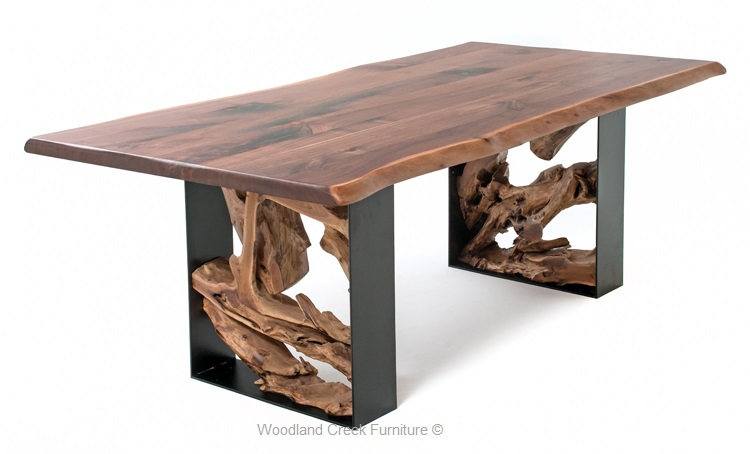 Modern Rustic Live Edge Table, Modern Slab Table, Contemporary Table