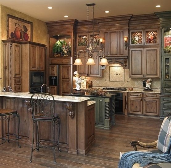Rustic kitchen cabinets.. Love by HananhX | Kitchen ideas