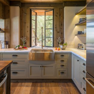 75 Most Popular Rustic Kitchen with Gray Cabinets Design Ideas for