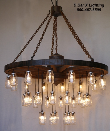 WW755 - Rustic Wagon Wheel Chandelier Light Fixture with Hanging