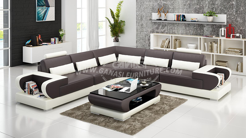 GANASI real leather home sectional,shaped corner recliner sofa