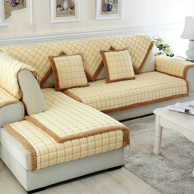 Coffee beige plaid quilting sofa cover sectional couch slipcovers