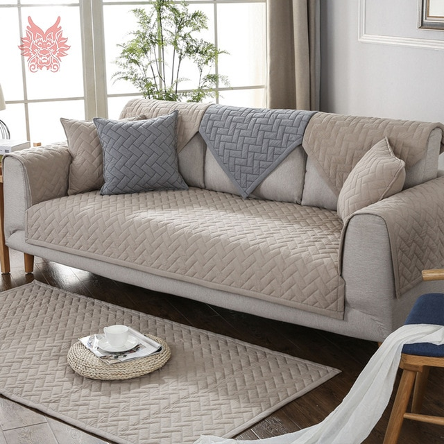 Modern style blue grey khaki quilted sofa slipcovers cotton