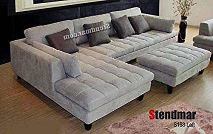 Amazon.com: 3pc Contemporary Grey Microfiber Sectional Sofa Chaise