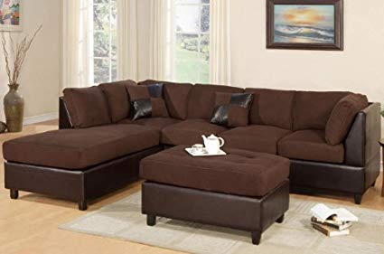 Amazon.com: Poundex New Chocolate Microfiber Leatherette Sectional