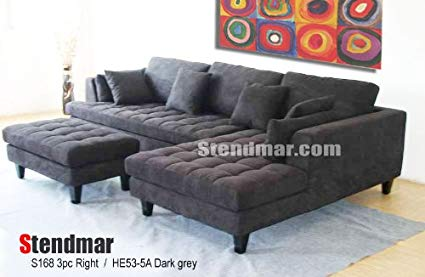 Amazon.com: 3pc New Modern Dark Grey Microfiber Sectional Sofa