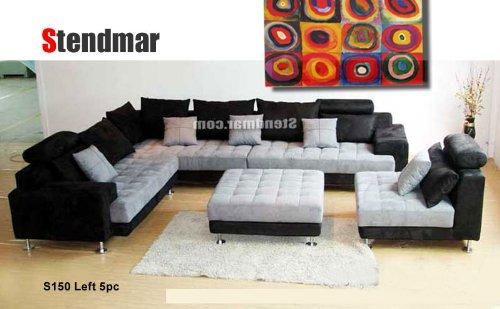 Amazon.com: 5pc Multifunction 2-tone Microfiber Big Sectional Sofa