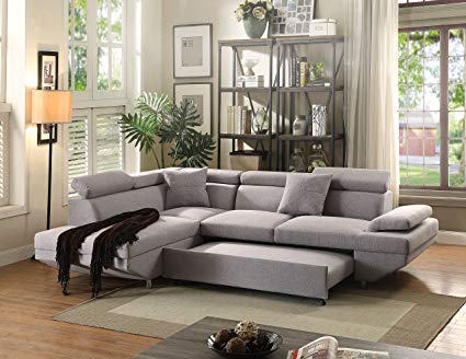 Amazon.com: ACME Jemima Gray Fabric Sectional Sofa with Sleeper