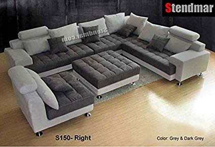 Amazon.com: 5PC NEW MODERN GRAY MICROFIBER BIG SECTIONAL SOFA SET