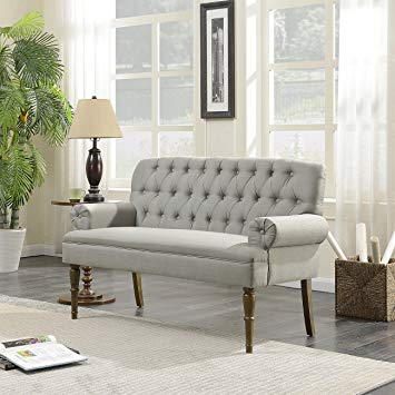 Amazon.com: Belleze Vintage Loveseat Sofa Settee Bench with Wood