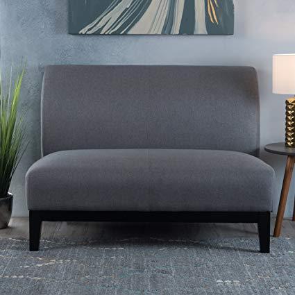 Amazon.com: Dauphin Contempo Plush Grey Fabric Settee Loveseat
