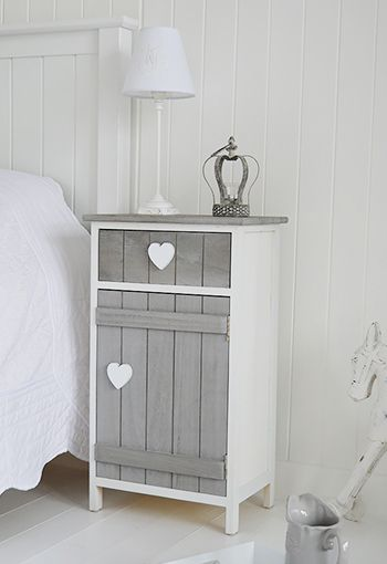 Grey and white Heart Cottage bedside table with cupboard and drawer