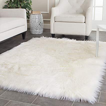 Amazon.com: OFLBA White Fux Sheepskin Rug Fur Blanket Area Shag Rug