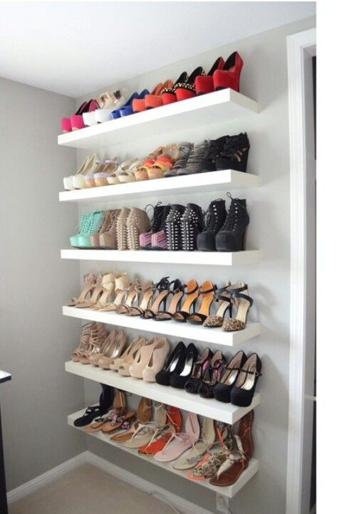 Friday Favorites | Diva Den | Shoe shelves, Closet bedroom, Shoe wall