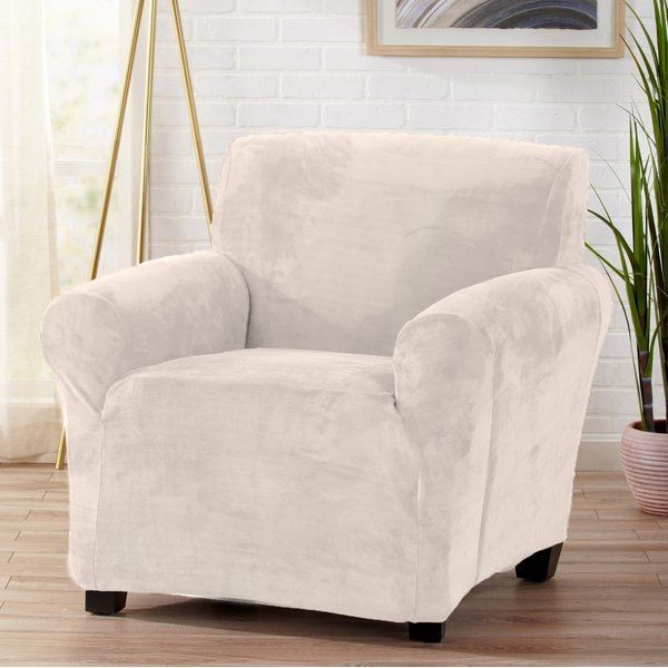 Symple Stuff Velvet Plush Form Fit Stretch T-Cushion Armchair