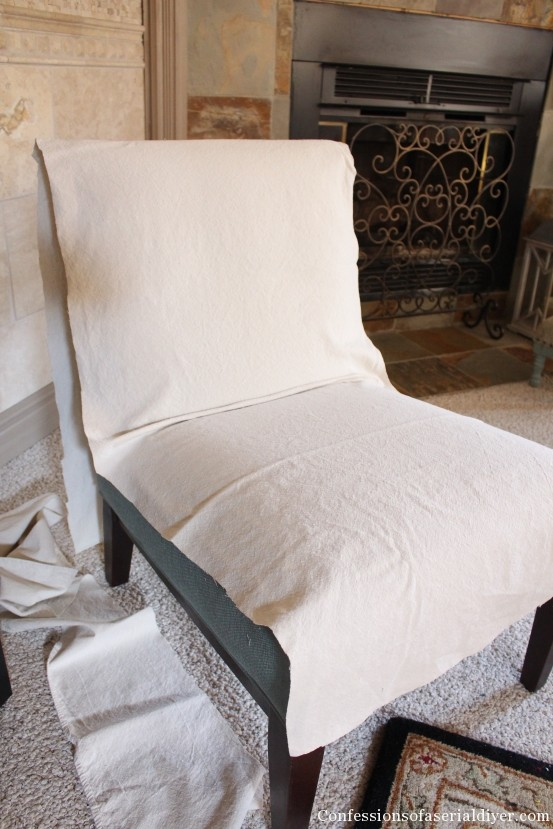 Slipcovering an Armless Accent Chair | Confessions of a Serial Do-it