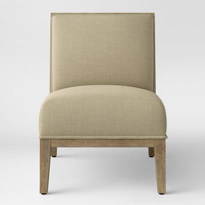 Rustic Wood Frame Slipper Chair Cream - Threshold™ : Target