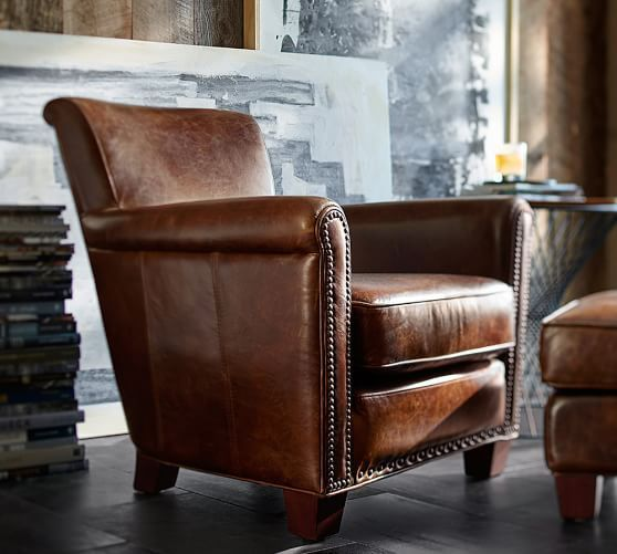 Irving Roll Arm Leather Armchair with Nailheads | House | Furniture