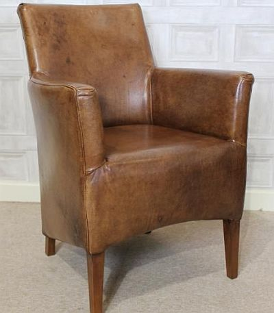 SMALL LEATHER ARMCHAIR A VINTAGE STYLE CHAIR BROWN AGED