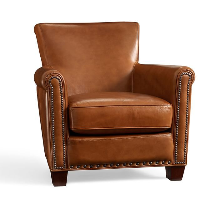 Irving Roll Arm Leather Armchair with Nailheads | Furniture