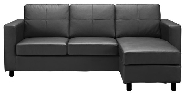 Modern Bonded Leather Sectional Sofa, Small Space Configurable Couch