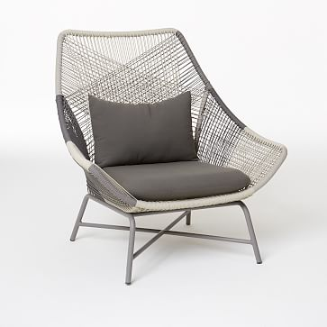 Huron Outdoor Large Lounge Chair + Cushion | west elm