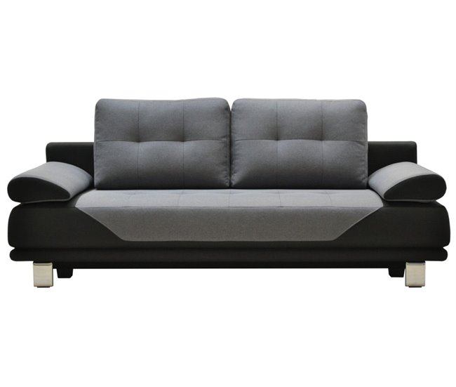 Sofá cama 3 plazas de tela DURBAN Negro y gris - Conforama