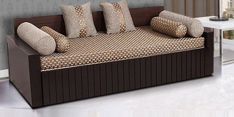 Buy Aster Elegant Sofa Cum Bed in Walnut Finish by ARRA Online