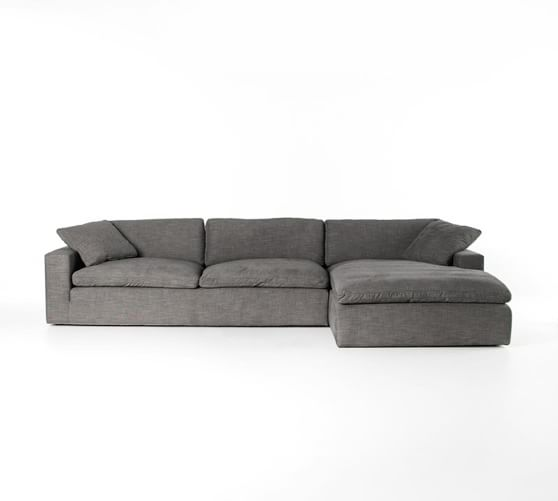 Milo Upholstered Sofa with Chaise Sectional | Pottery Barn