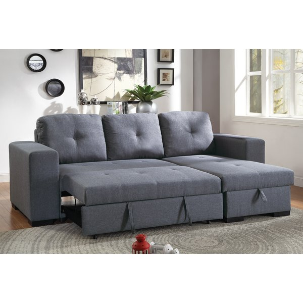 Ivy Bronx Buchman Linen-like Reversible Sectional with Pull-Out Bed