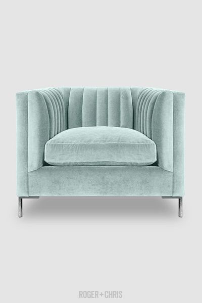 Mid-Century Modern Channel-Tufted Shelter Sofas, Armchairs