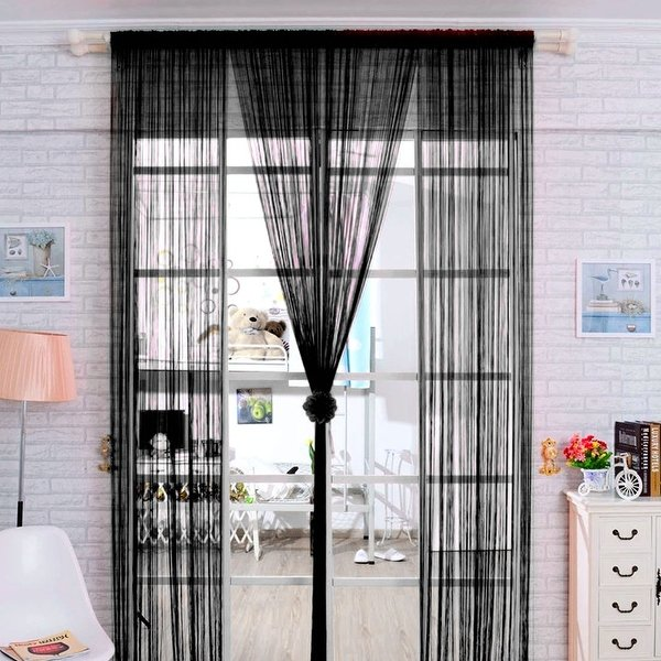 Shop Home Solid Rod Pocket String Curtains Panel Drapes for Window