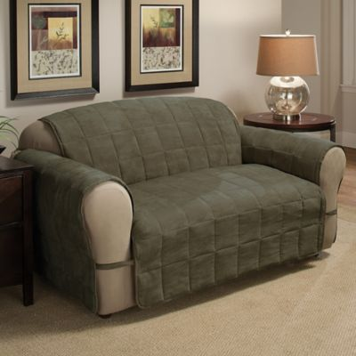 Ultimate Faux Suede Loveseat Protector In Sage | Products | Sofa