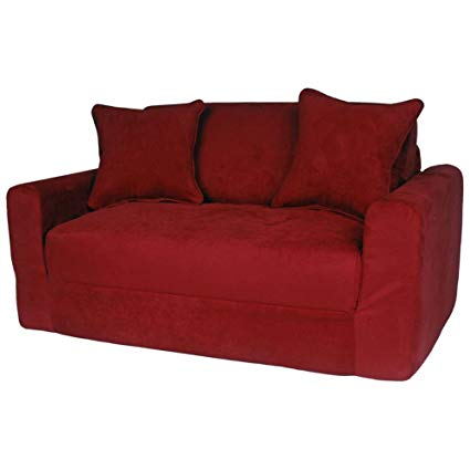 Amazon.com: Fun Furnishings Micro Suede Sofa Sleeper with Pillows