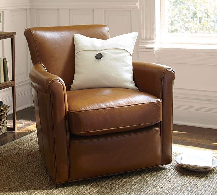Irving Roll Arm Leather Swivel Armchair Products Living Room