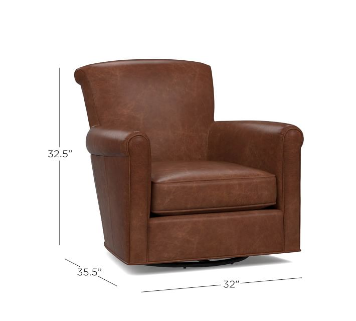 Irving Roll Arm Leather Swivel Armchair | Pottery Barn