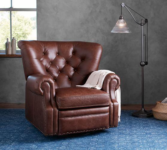 Lansing Leather Swivel Recliner | Pottery Barn